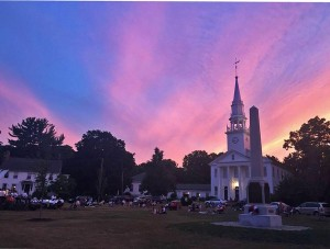 Sun setting over the Cheshire Community Band July 3, 2016